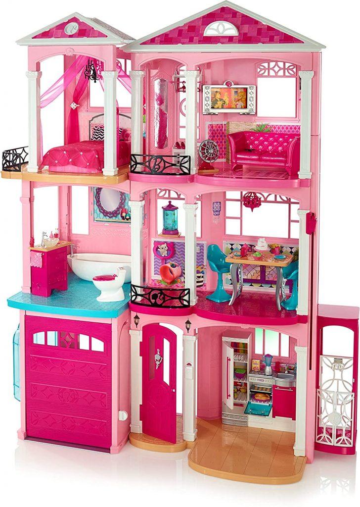 Dieses Barbie Traumvilla hat 3 Stockwerke.