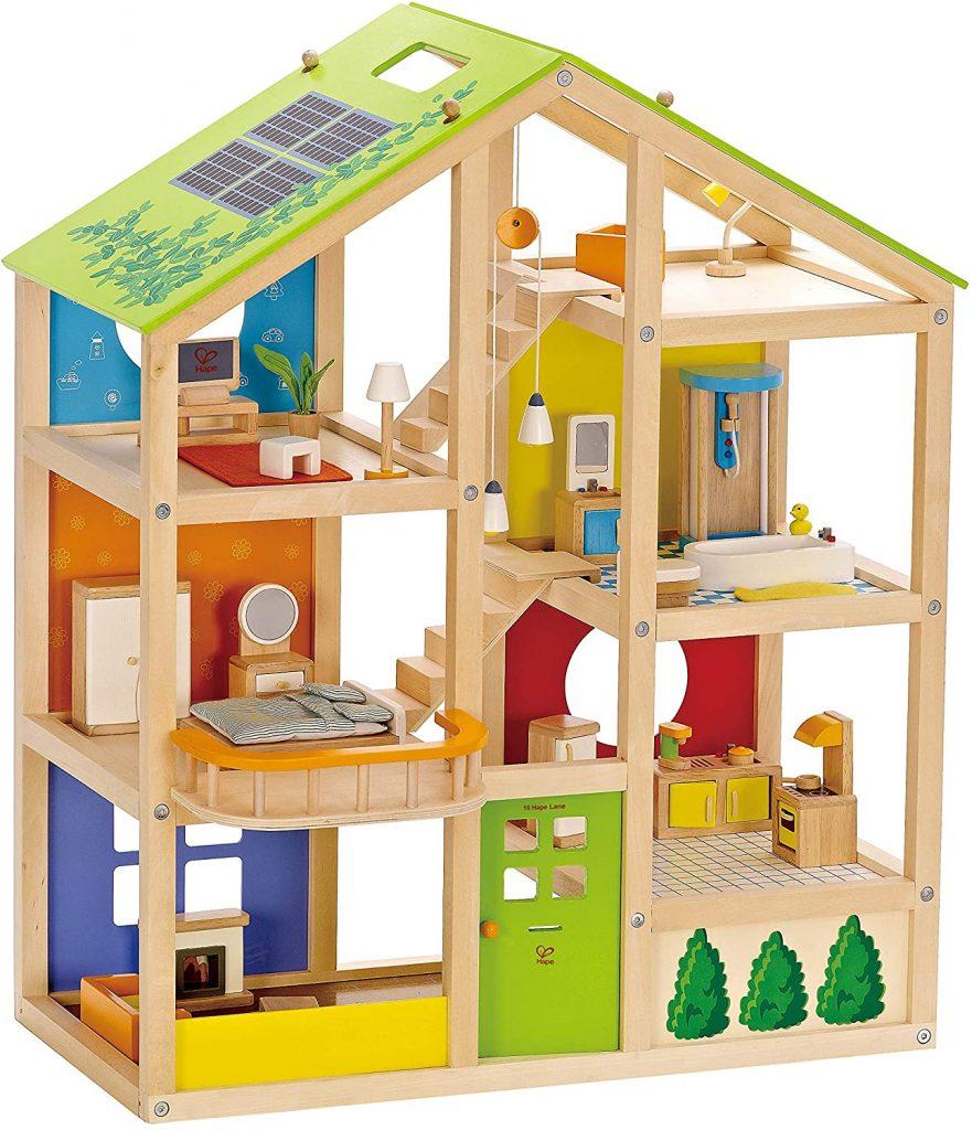 Das Hape Puppenhaus holz ist ein Vier-Jahreszeiten-Haus.