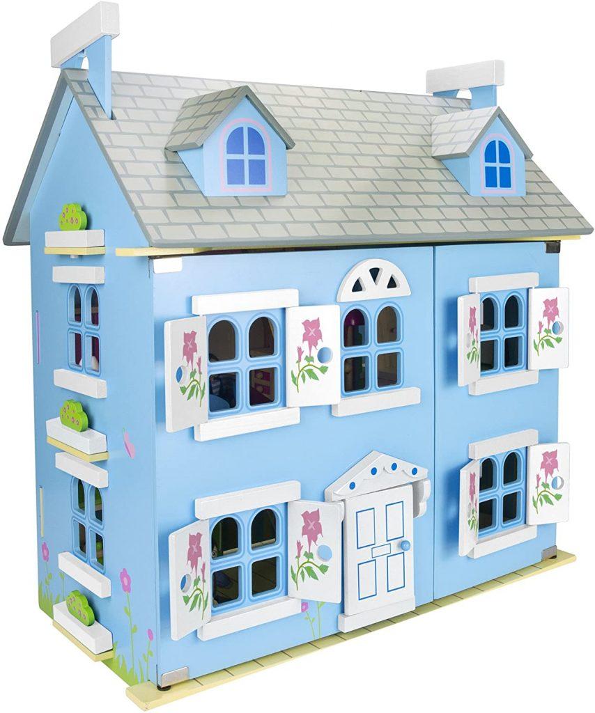 Dieses Puppenhaus aus holz Leomark hat LED-Beleuchtung.