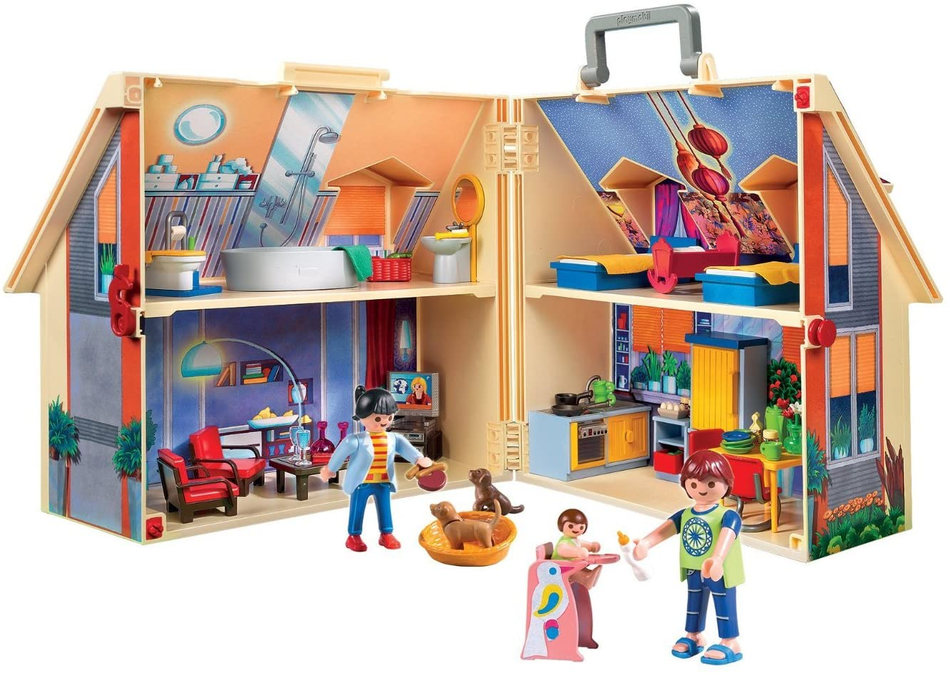 Das Playmobil Families Hauser 5167 kann mit Hilfe eines Handgriffs transportiert werden.