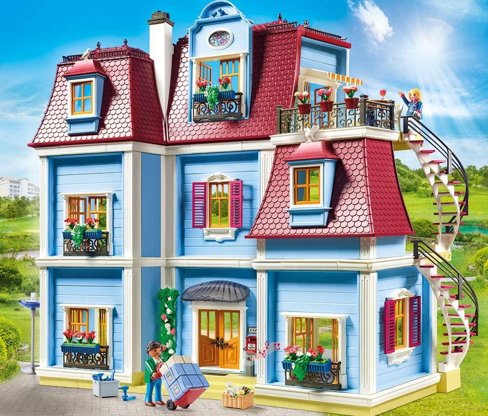 Dieses Playmobil Haus verfügt über ein Treppenhaus.
