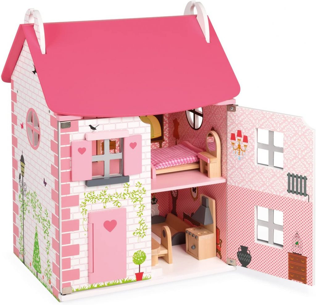 Dieses puppenhaus holz Janod ist rosa.
