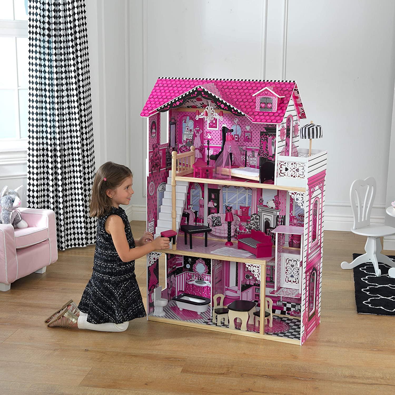 Das Kidkraft Puppenhaus holz Amelia hat 3 Spielebenen.