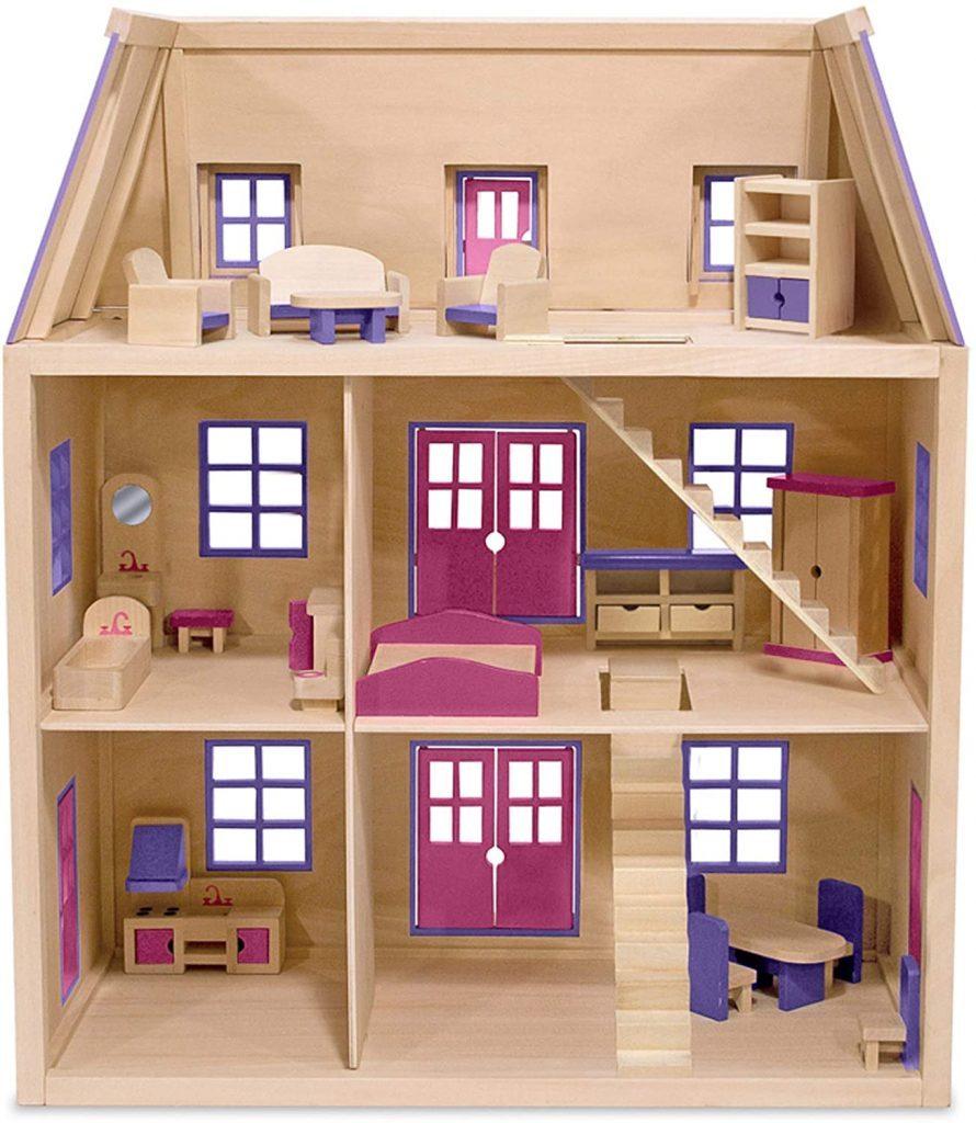 Dieses Melissa & Doug puppenhaus holz wird mit Holzmöbeln geliefert.