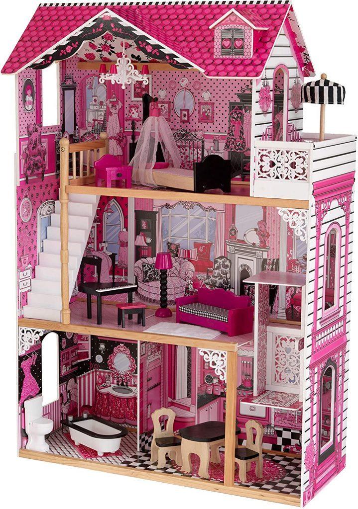 Das Puppenhaus Amelia hat ein Schlafzimmer mit einem Balkon.