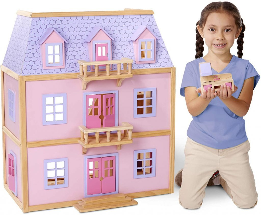 Dieses Puppenhaus ist rosa und lila.